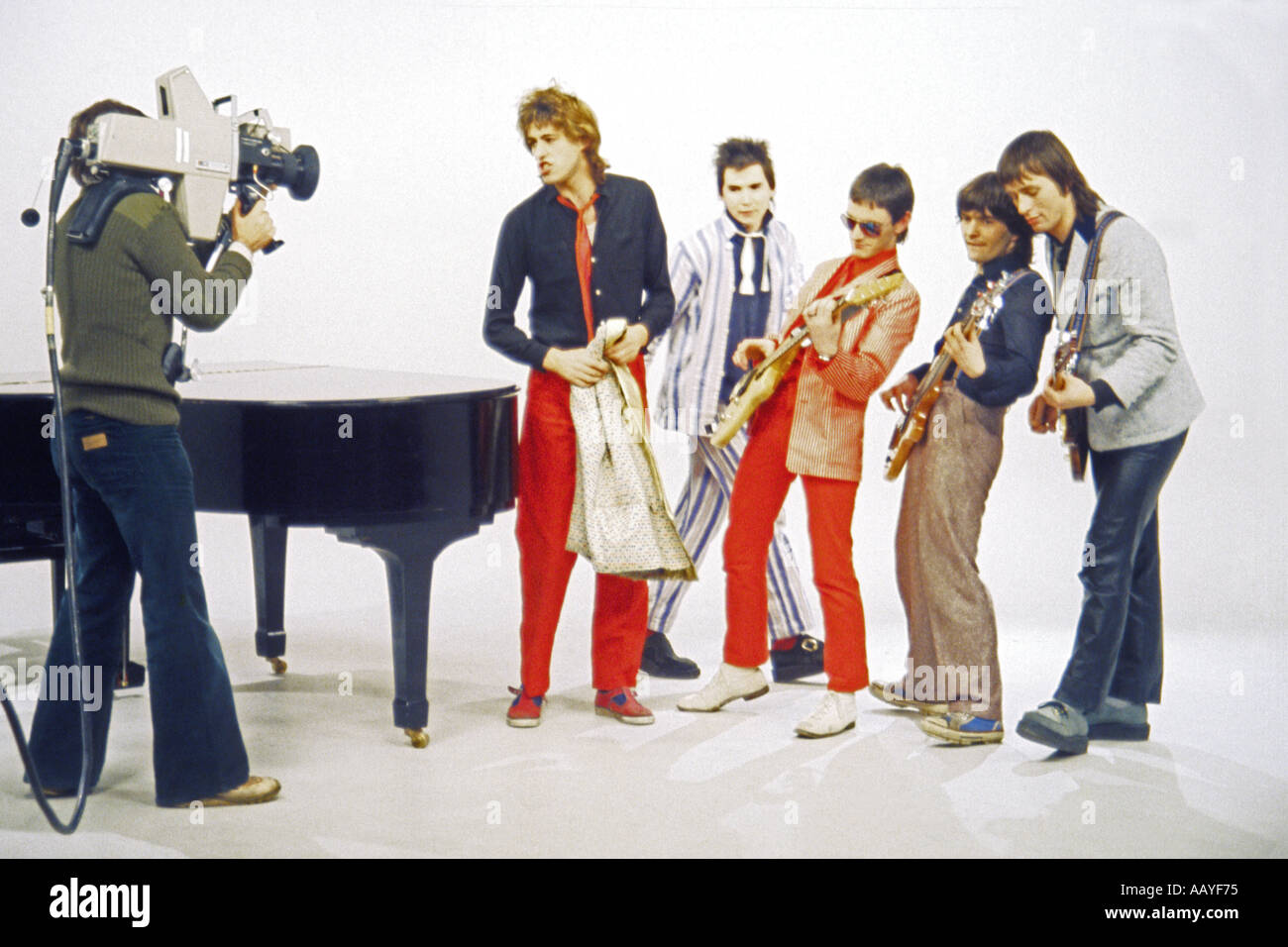 Bob Geldof singer with Boomtown Rats recording music video for Rat Trap in Molinare Studio London 19 October 1978 - Stock Image
