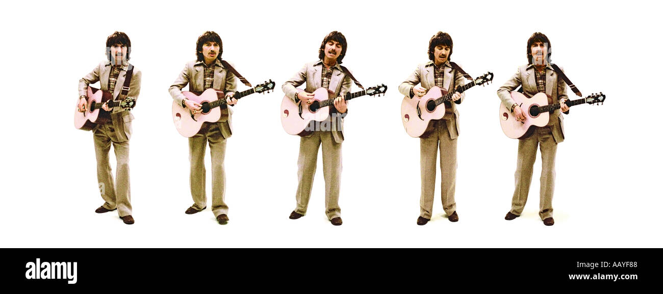 George Harrison of The Beatles colour composite of five shots. PER0046 - Stock Image