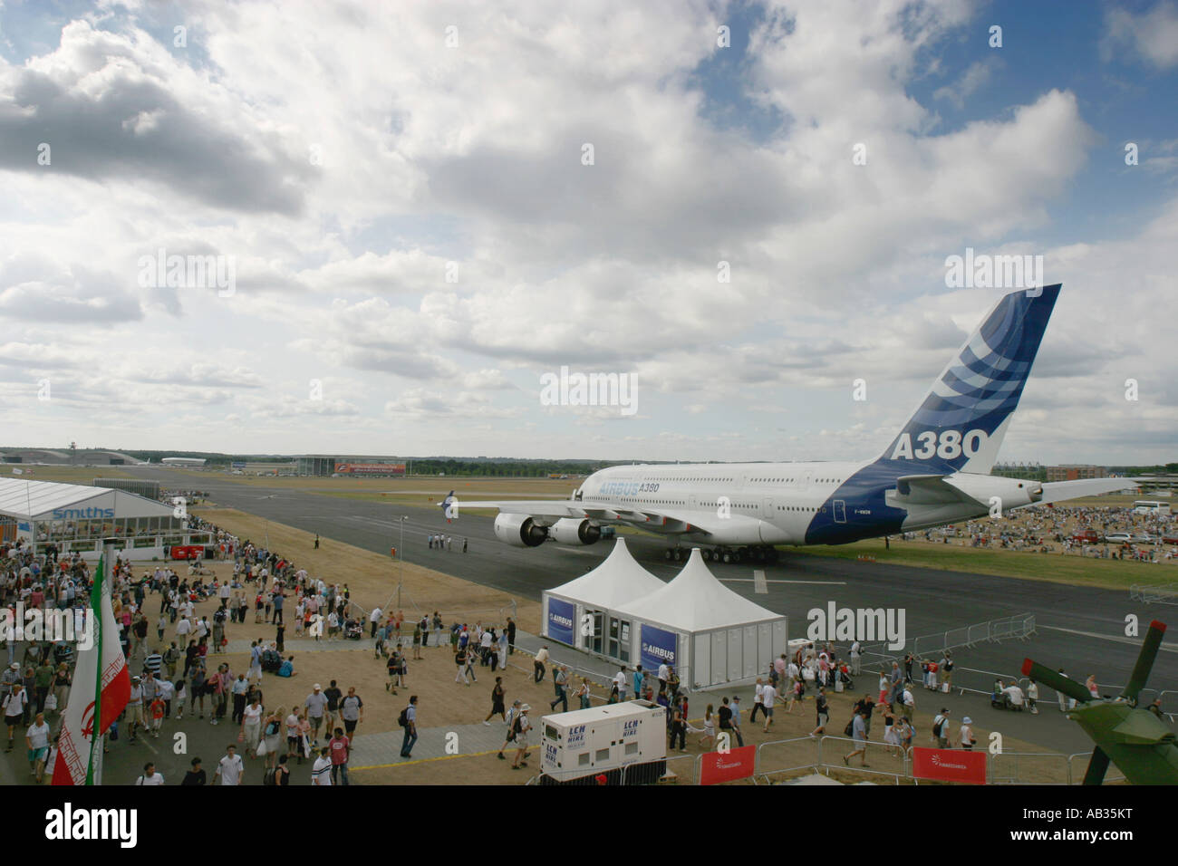Commercial airliner Airbus A380 at International Airshow 2006 UK - Stock Image