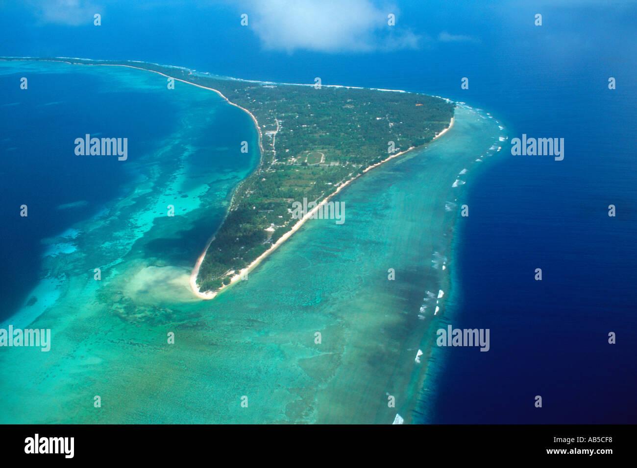 Aerial view of Laura Majuro atoll Marshall Islands N Pacific Stock Photo