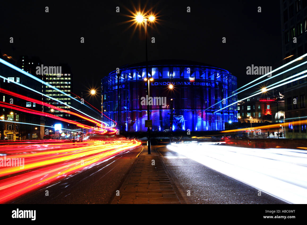 The BFI Imax cinema in London has the largest cinema screen in the UK. Films are shown in 2D and 3D. - Stock Image