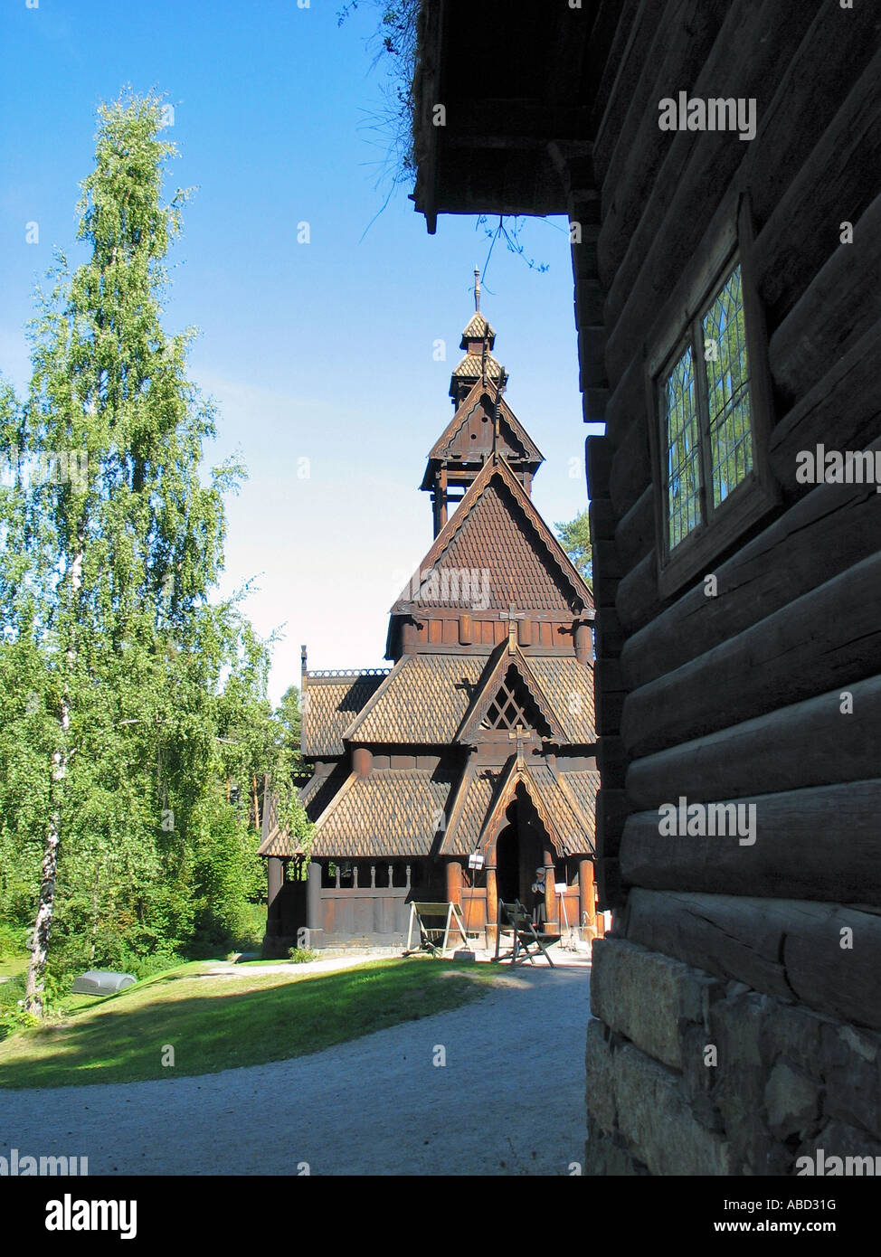 Stave Church of Gol in Norwegian Folk museum, Oslo, Norway - Stock Image