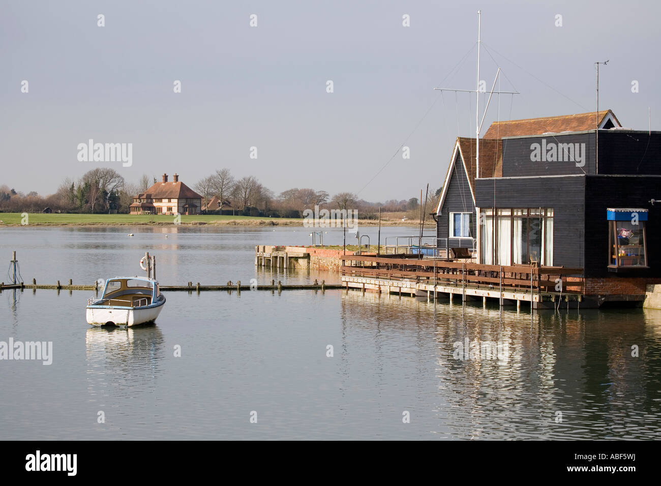 Boats at Dell Quay, Chichester, West Sussex, England, UK - Stock Image