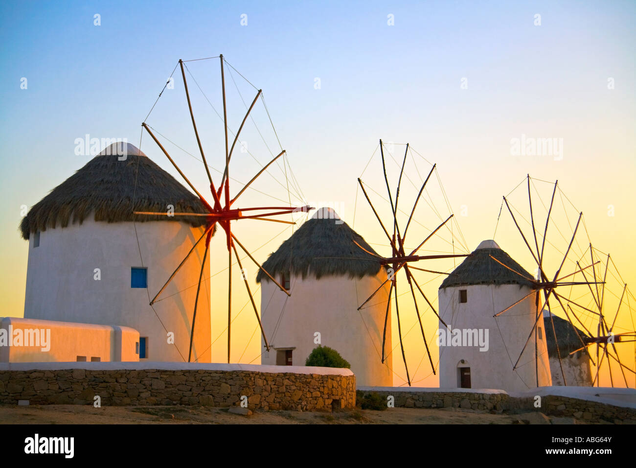 Mykonos Iconic Windmills  Aegean Sea Greece Europe Stock Photo
