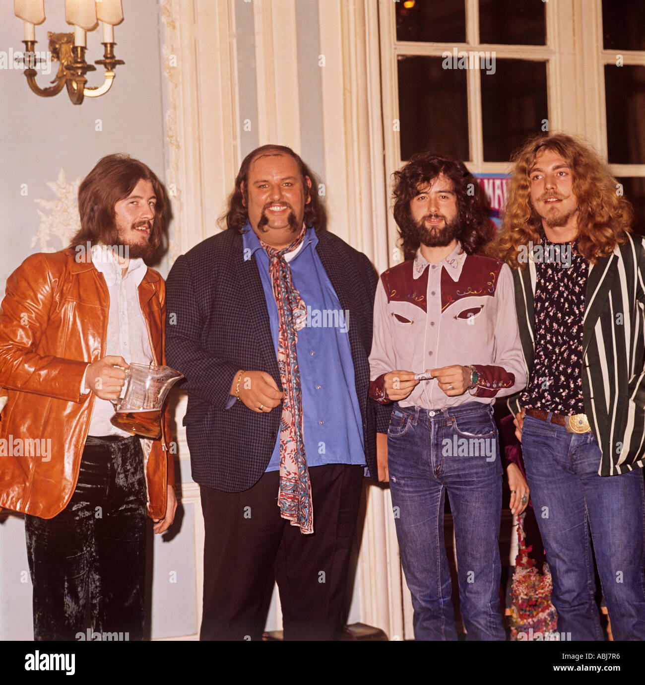 Led Zeppelin, picture shows l -r John Bonner drummer, Peter Grant  manager, Jimmy Page lead guitarist, and Robert - Stock Image