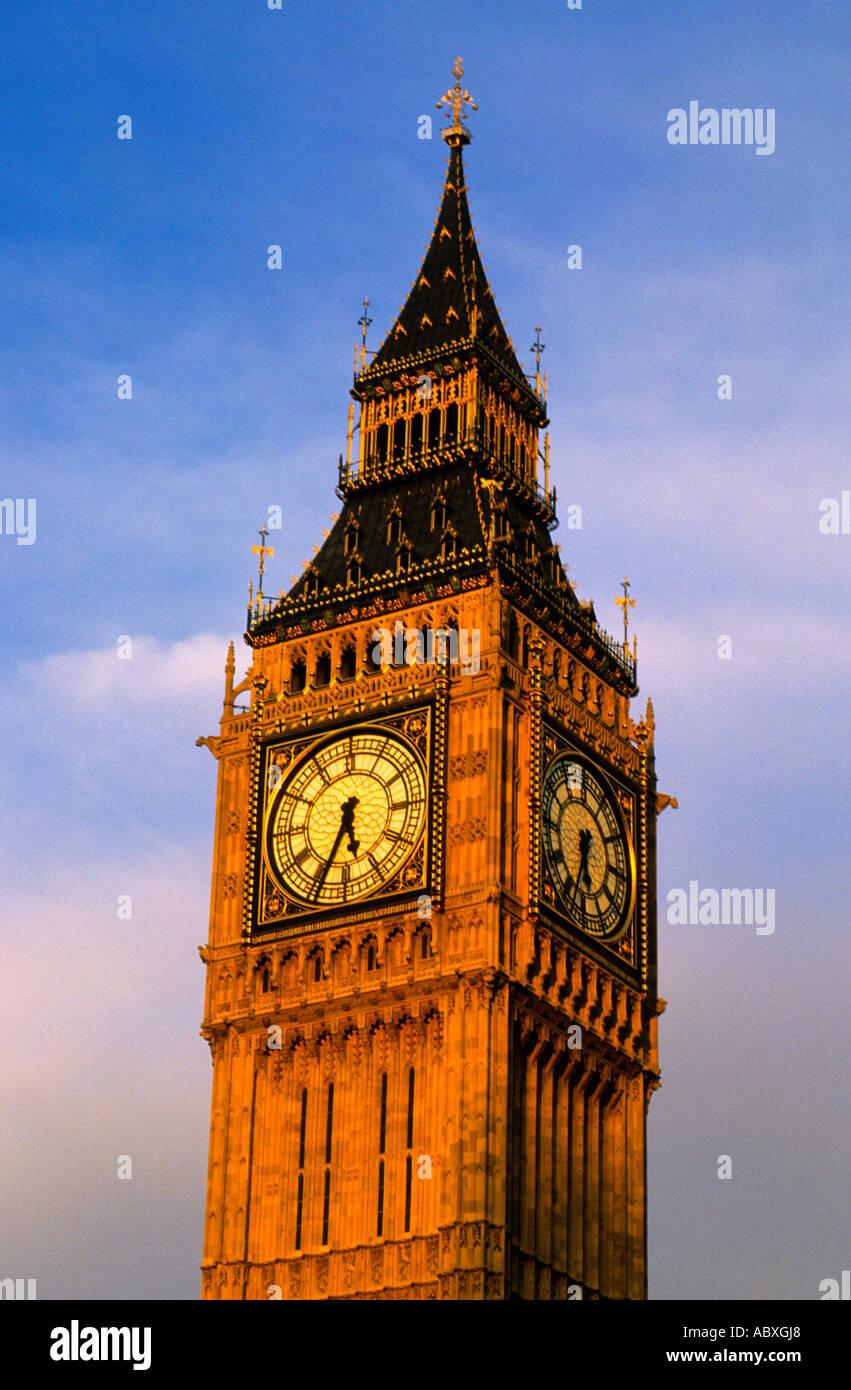 Europe United Kingdom Great Britain UK London England Big Ben at Sunset - Stock Image