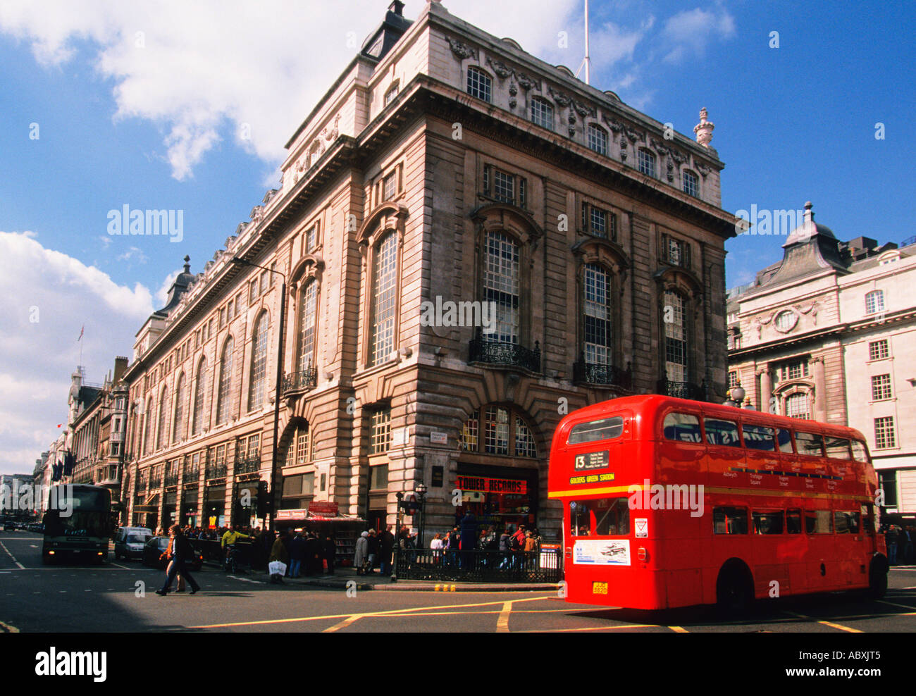 Europe England Great Britain United Kingdom London Piccadilly Circus Double Decker Bus - Stock Image