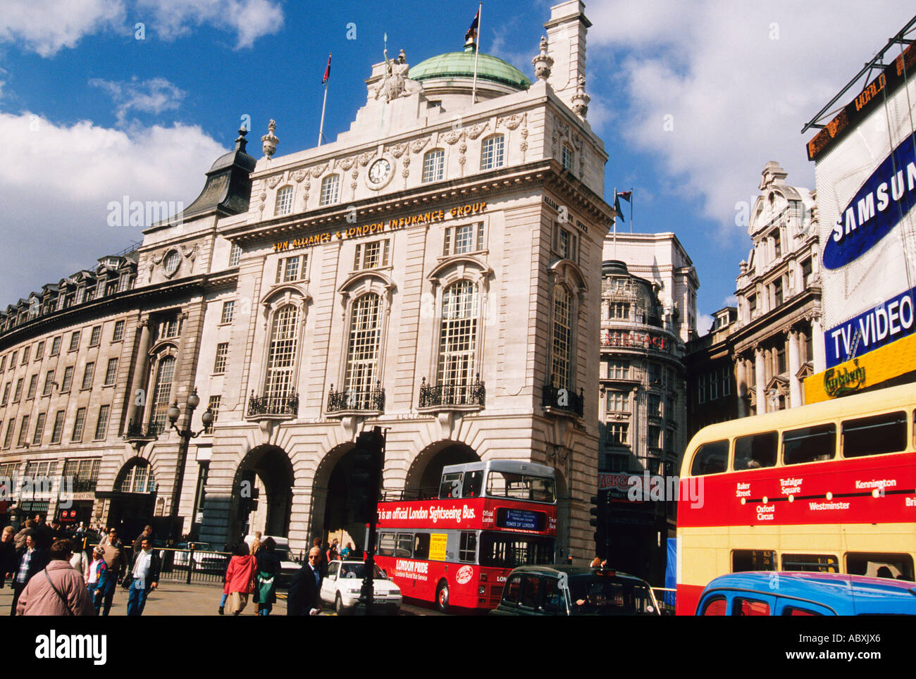 England Great Britain United Kingdom London Piccadilly Circus Double Decker Bus - Stock Image