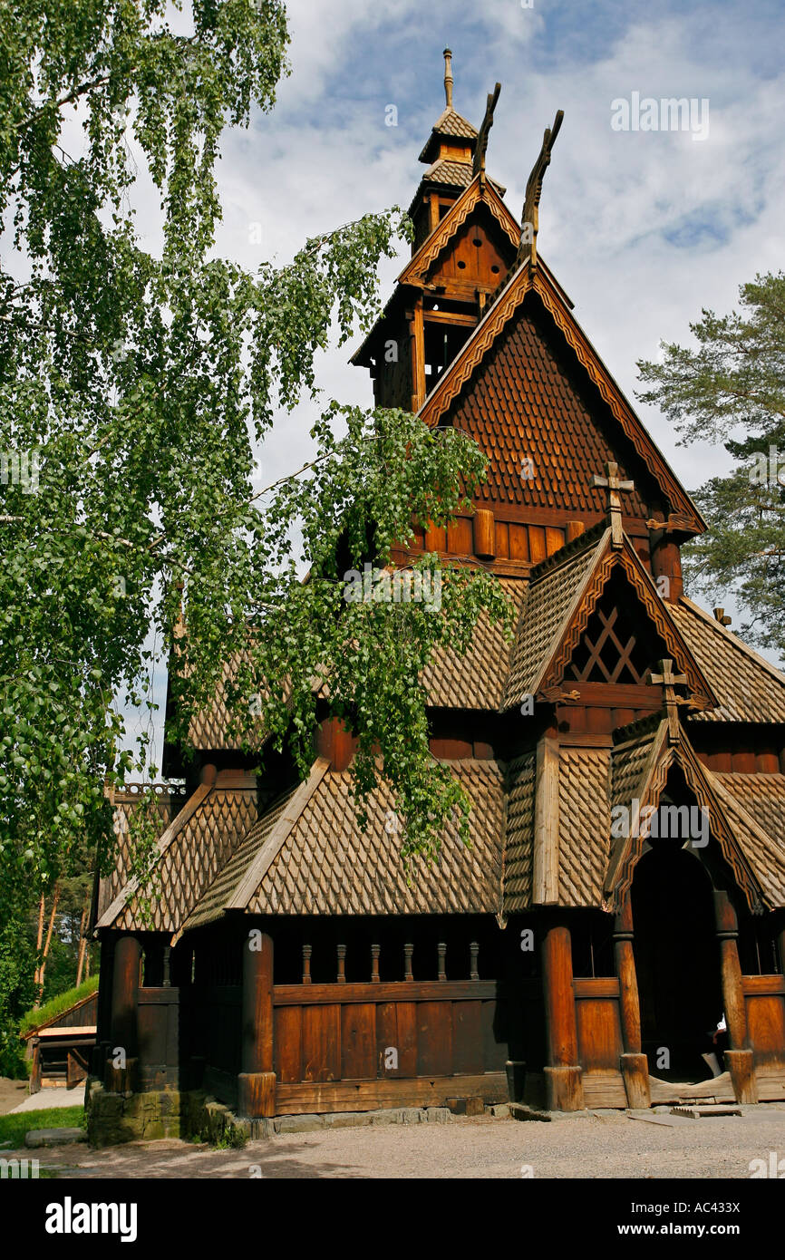 Stave Church Norsk Folkemuseum Oslo Norway Europe - Stock Image