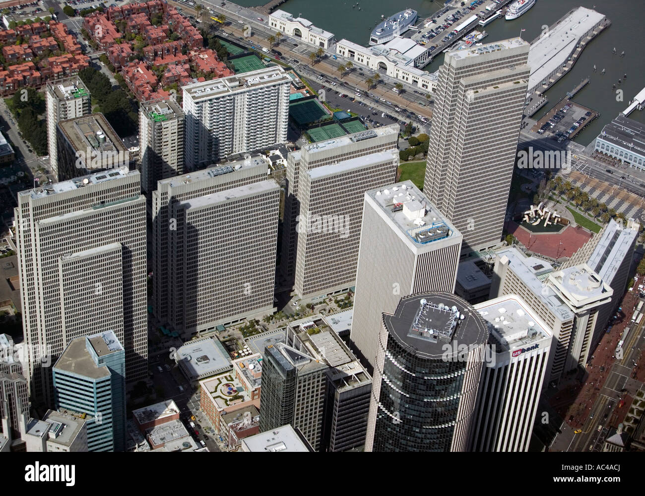 Aerial View Above San Francisco Embarcadero Center 101 California In The Foreground