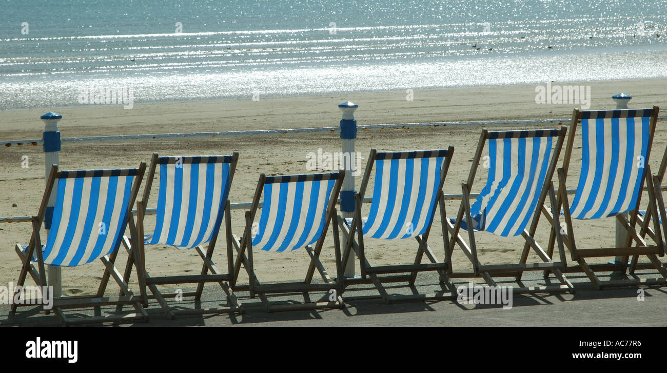 Deck chairs Weymouth Dorset - Stock Image