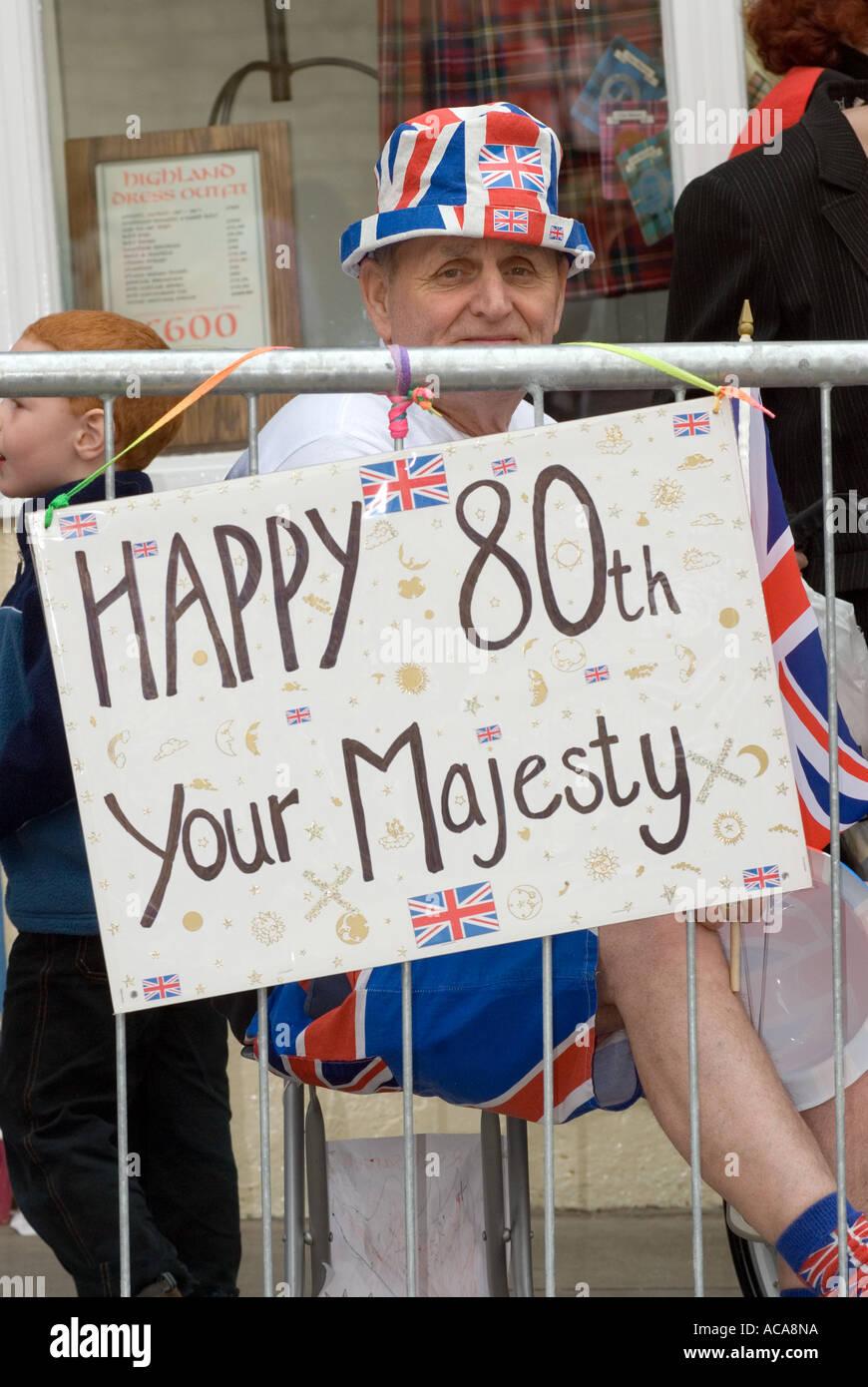 Elderly Man In Bowler Hat During Queen S 80th Birthday Celebrations Windsor Castle Berkshire UK