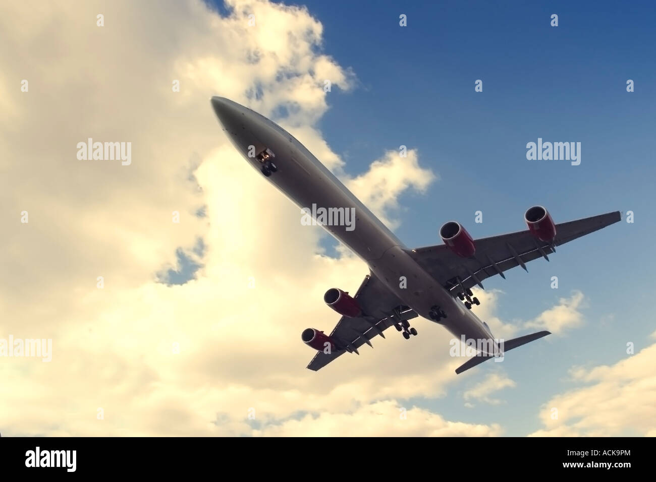 Wide angle view of commercial airliner - Stock Image