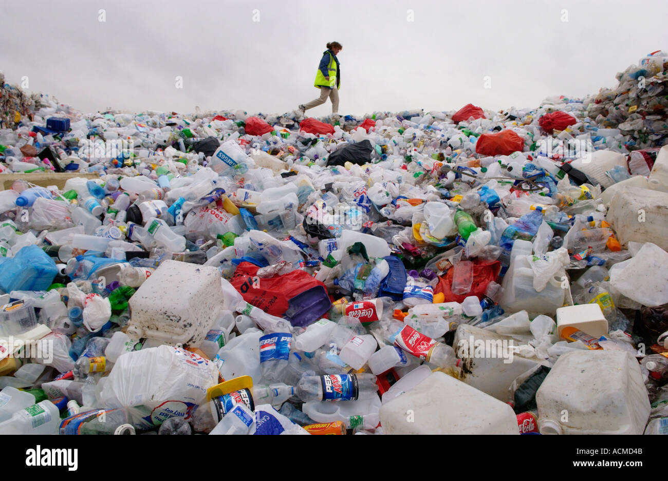 Plastic collected by Wastesavers community recycling group from households in Newport South Wales Gwent UK Stock Photo