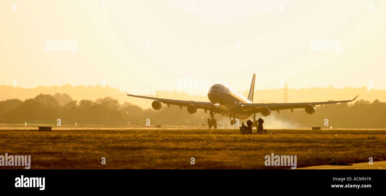 Large commercial airliner landing at dusk - Stock Image