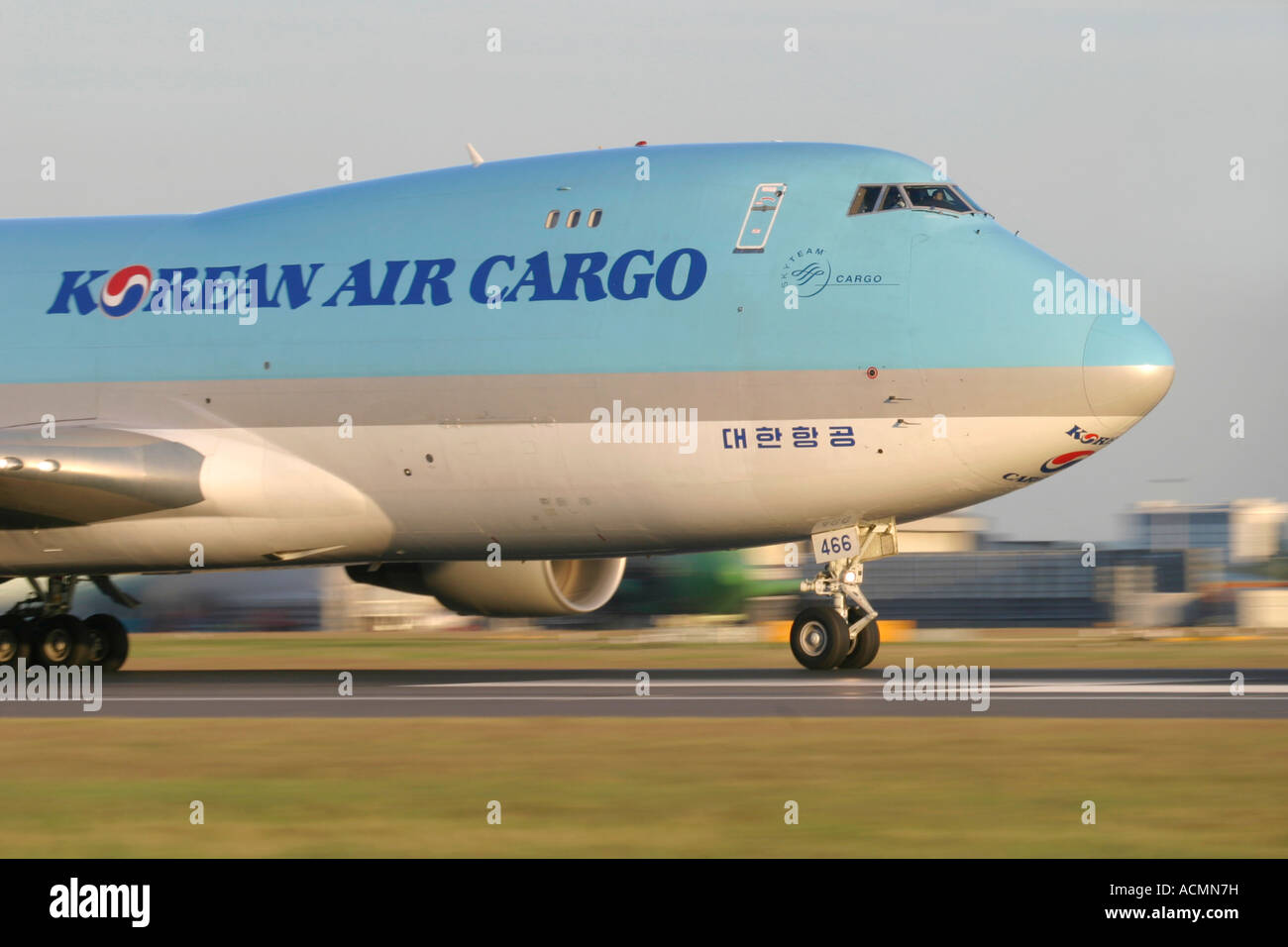 Close-up of Korean Air Cargo Boeing 747-4B5F/SCD freighter - Stock Image