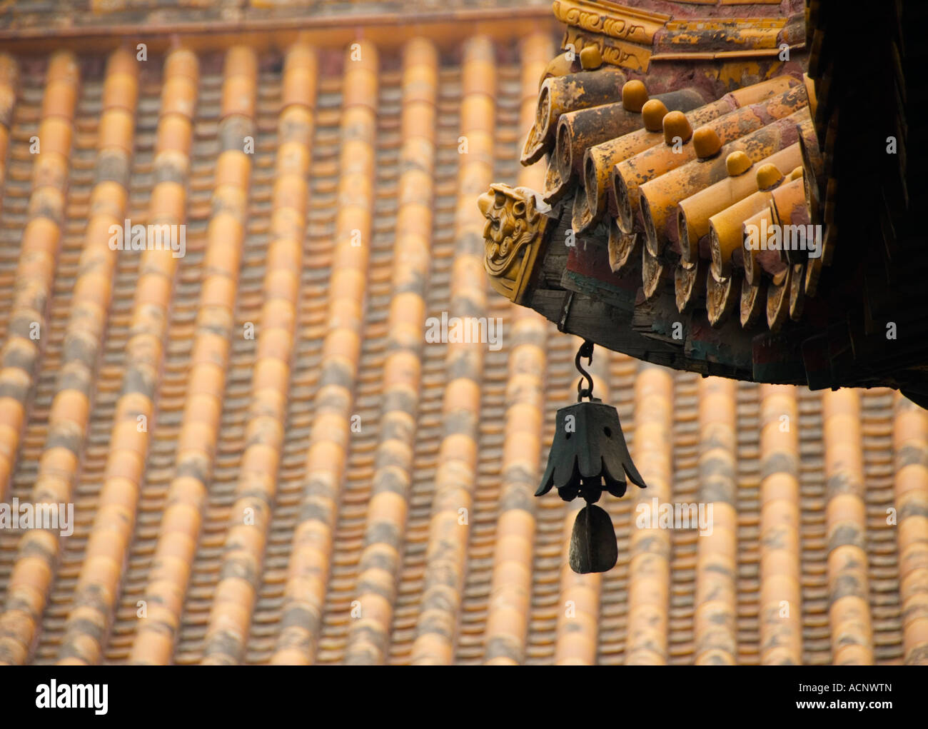 Bell and roof detail at Lama Temple Yonghegong in Beijing 2007 Stock Photo
