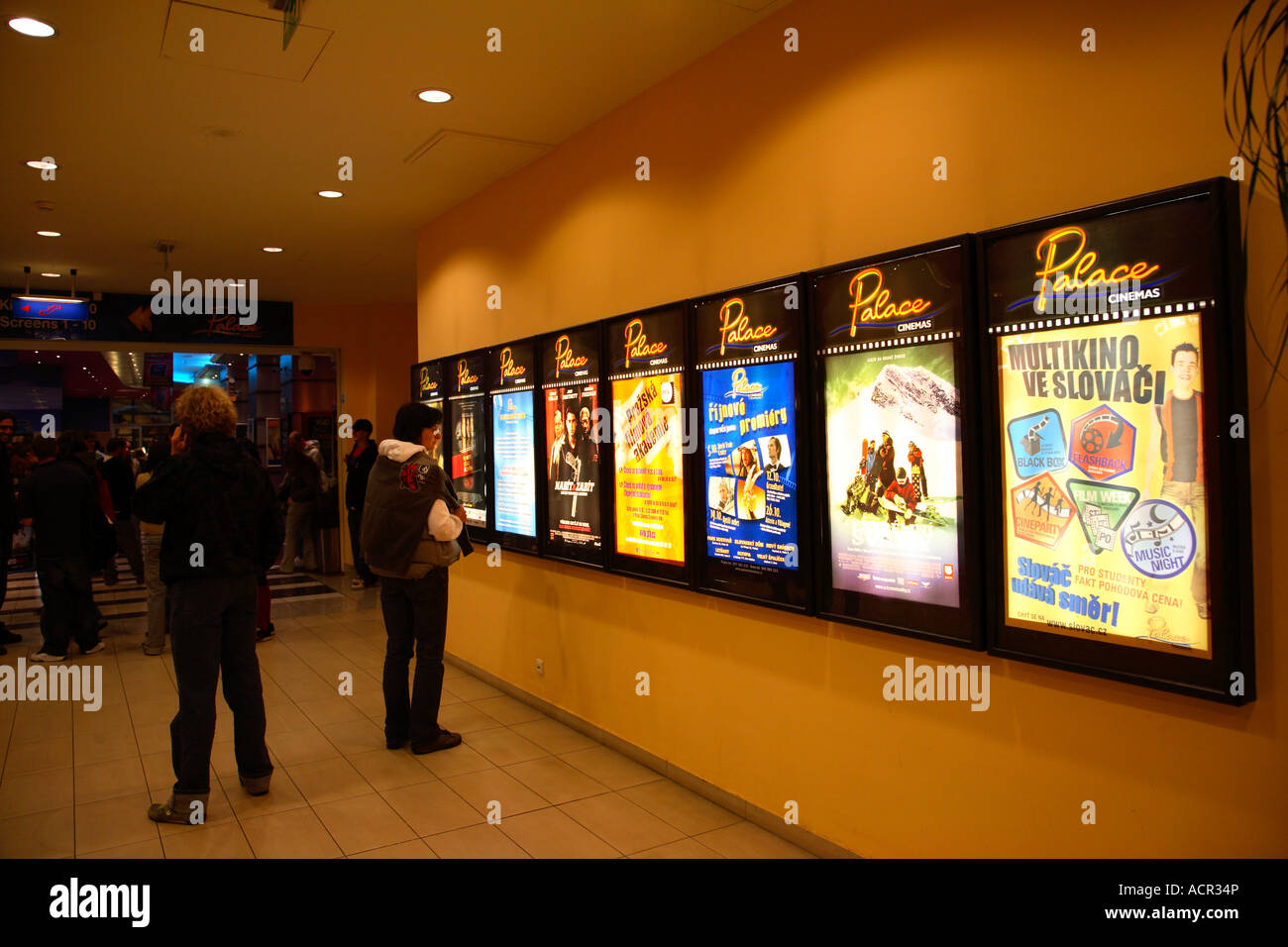 Czech Republic Prague nightlife cinema moviehouse Palace cinemas Prague 2006 - Stock Image