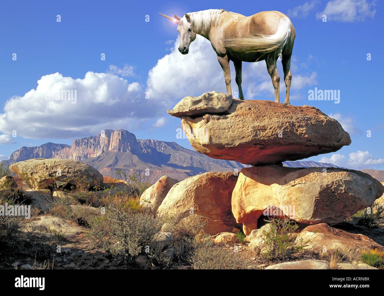 Spiral horned Unicorn - Stock Image