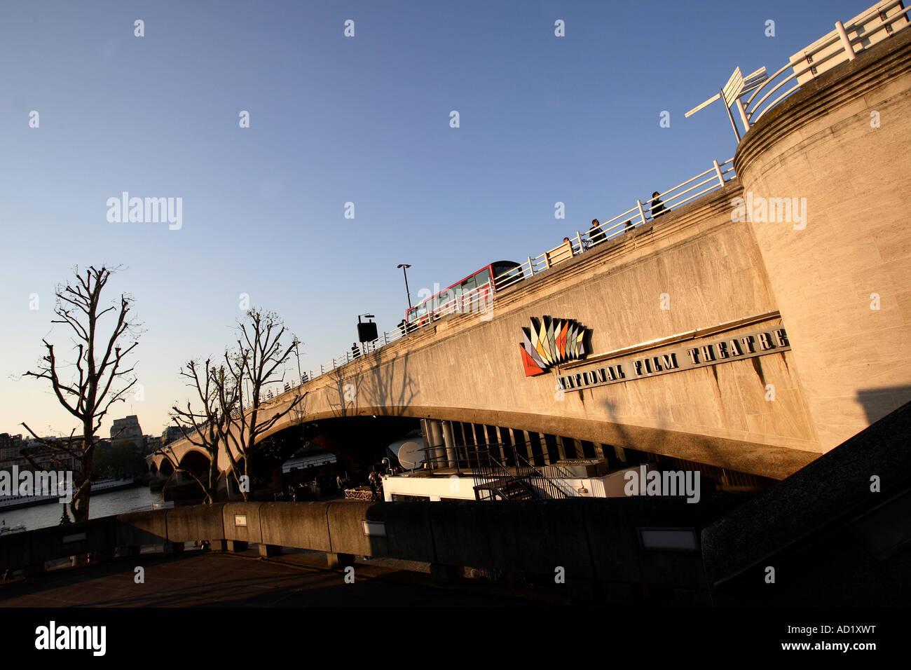 National Film Theatre sign on Waterloo Bridge. South Bank, London, England, UK - Stock Image