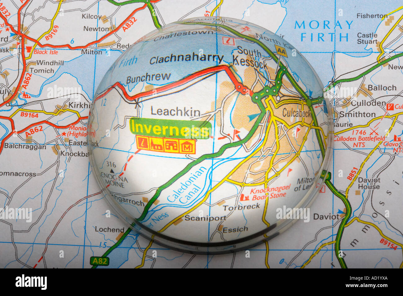 Magnified Map Area of Inverness Scotland UK Stock Photo 7587305