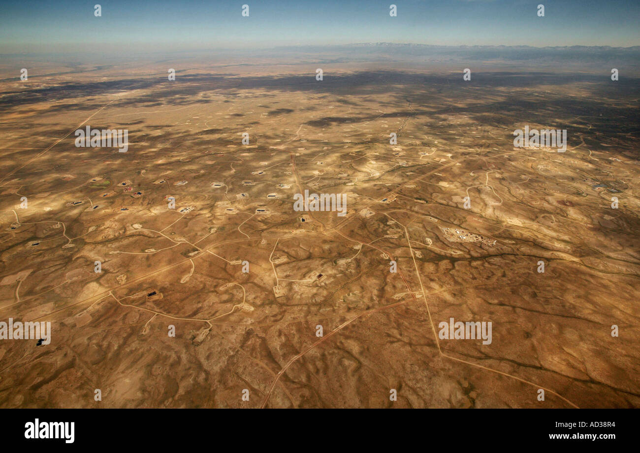Aerial view of the Jonah Field oil and natural gas drilling field near Pinedale, Wyoming, USA. - Stock Image