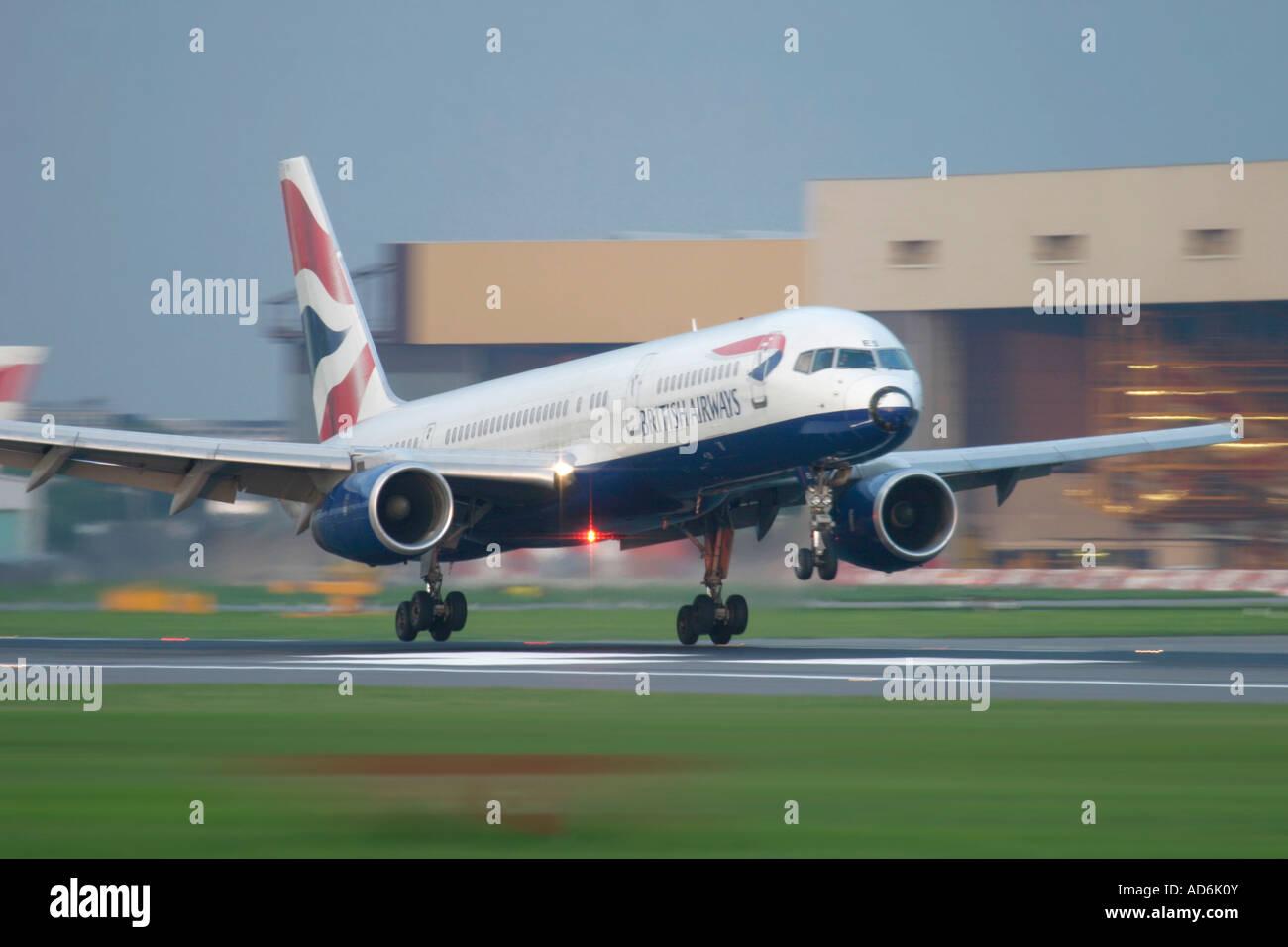 British Airways Boeing 757 touching down at London Heathrow Airport England UK - Stock Image