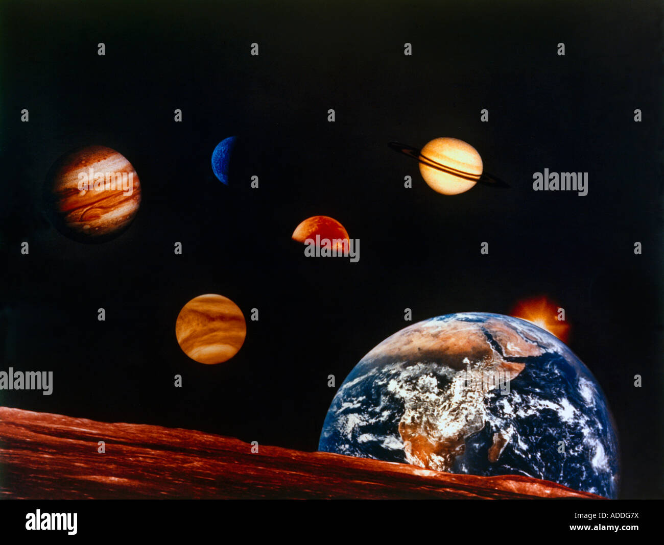 Artwork of Solar System - Stock Image