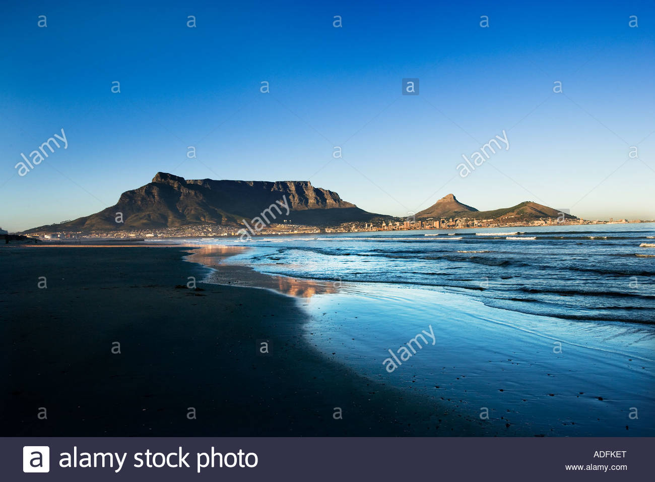 Table Mountain Lions Head and Signal Hill Cape Town South Africa from the north - Stock Image