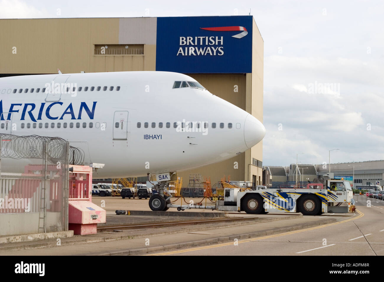 Boeing 747 444 South African Airways ZS SAK 005 Ibhayi crossing Eastchurch Road at London Heathrow Airport UK - Stock Image