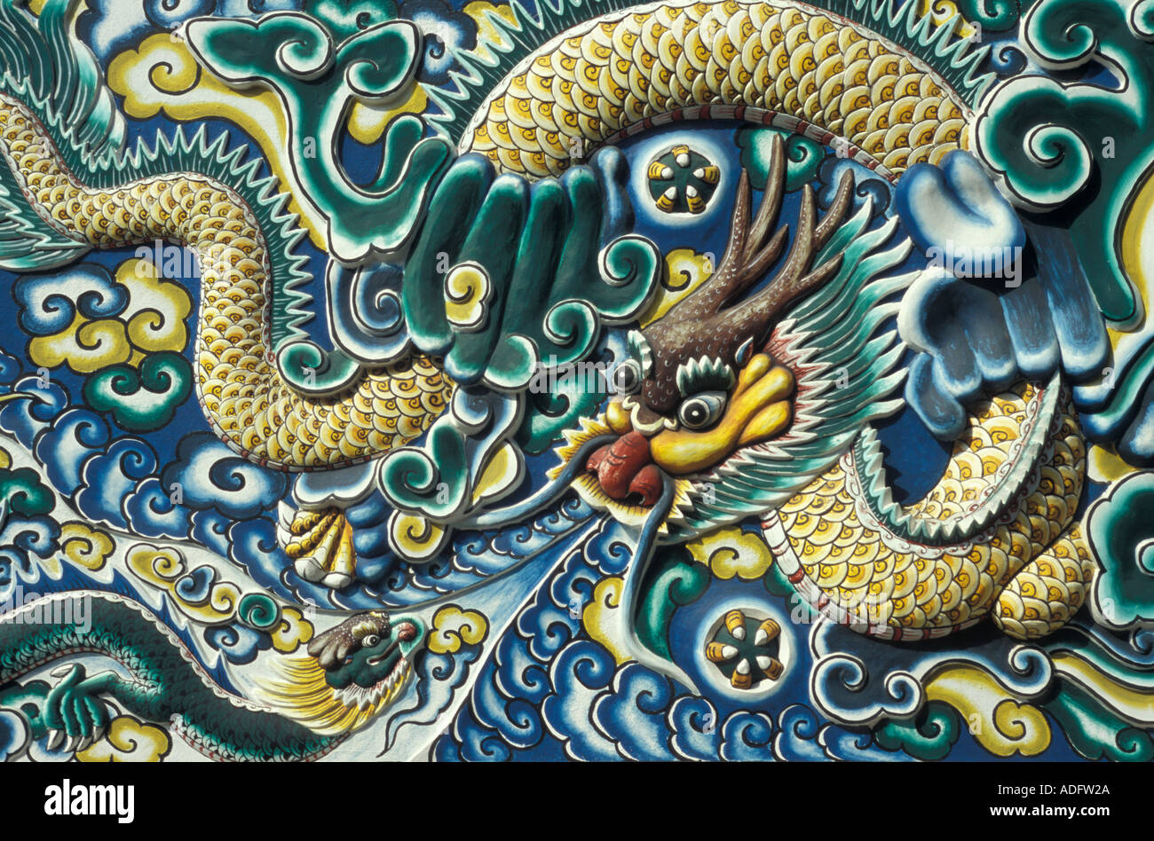 dragon detail ban pa thailand - Stock Image