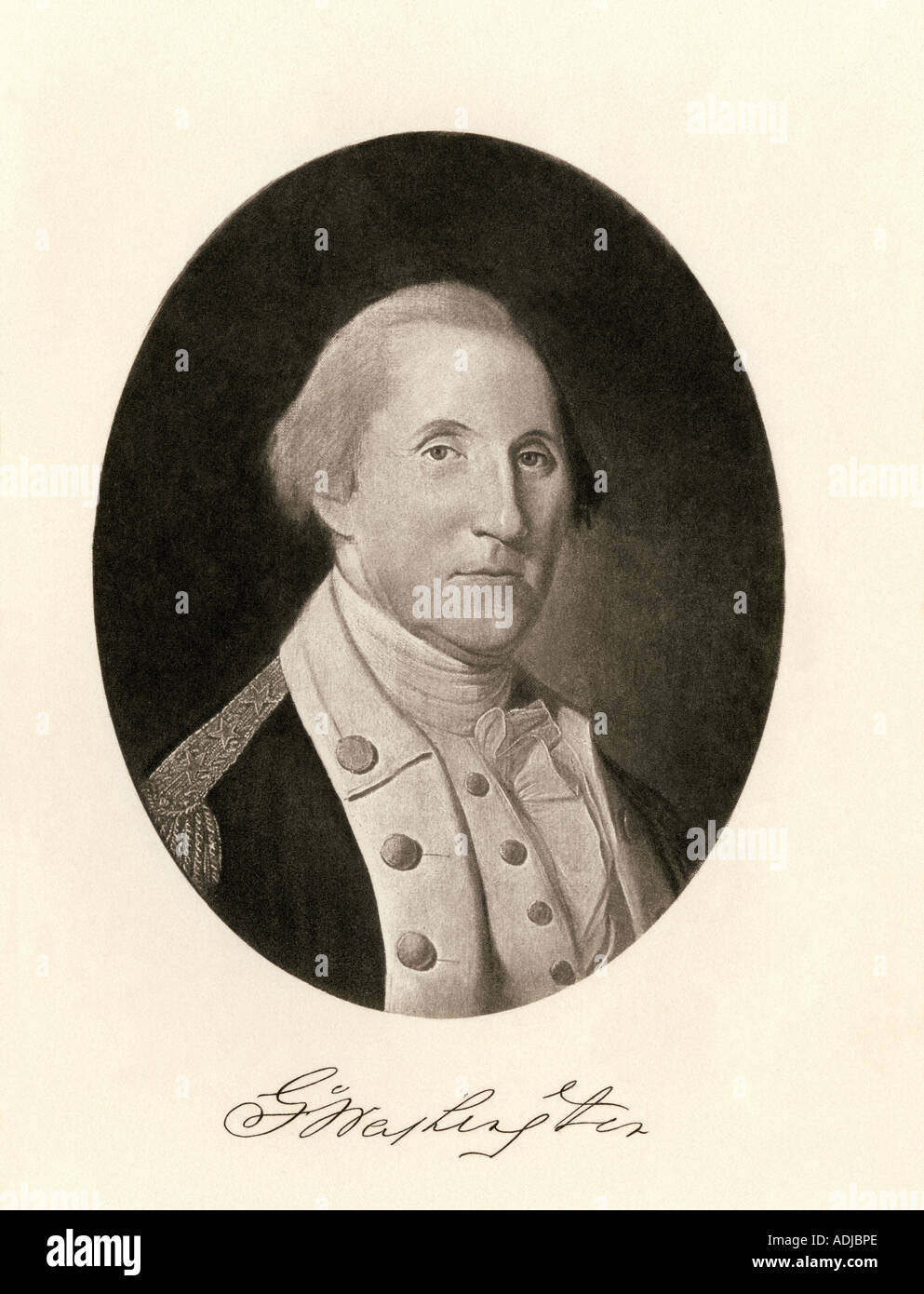 General George Washington with signature - Stock Image