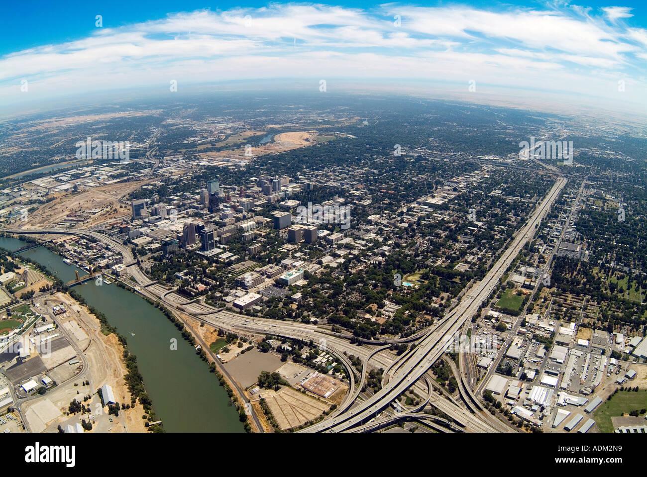 aerial view above Sacramento river and city of Sacramento, CA - Stock Image