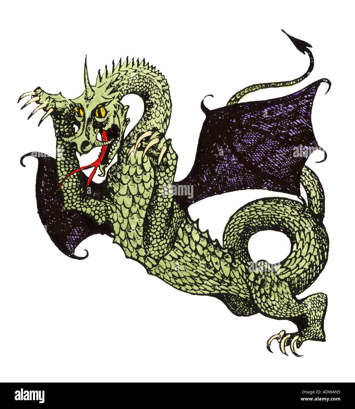 Demonic horned dragon of Hell Stock Photo