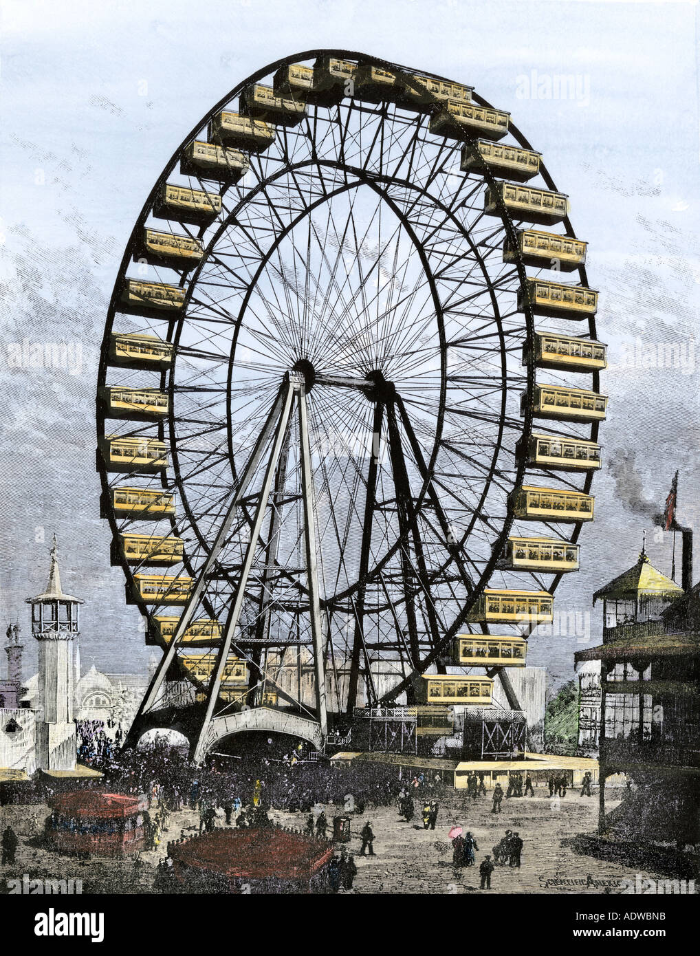 First Ferris Wheel 250 feet in diameter with 36 cars at Worlds Fair and Columbian Exposition Chicago 1893. Hand Stock Photo