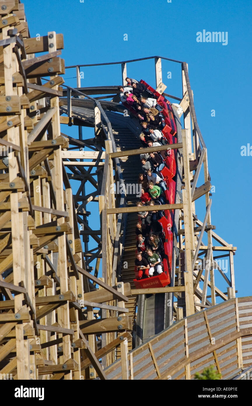 Sweden, Goteborg, Rollercoaster, Liseberg Amusement Park Stock Photo