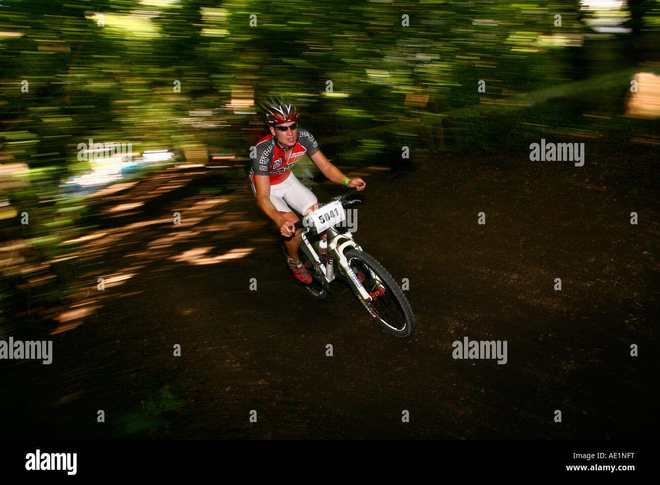 mountain biker (zoomed photography). Photo by Willy Matheisl - Stock Image