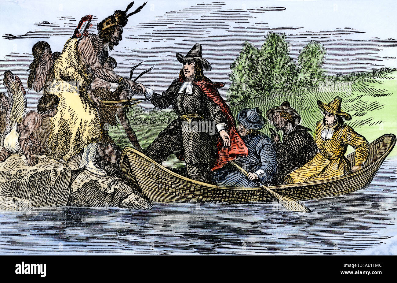 Landing of Roger Williams at Providence Rhode Island 1636. Hand-colored  woodcut