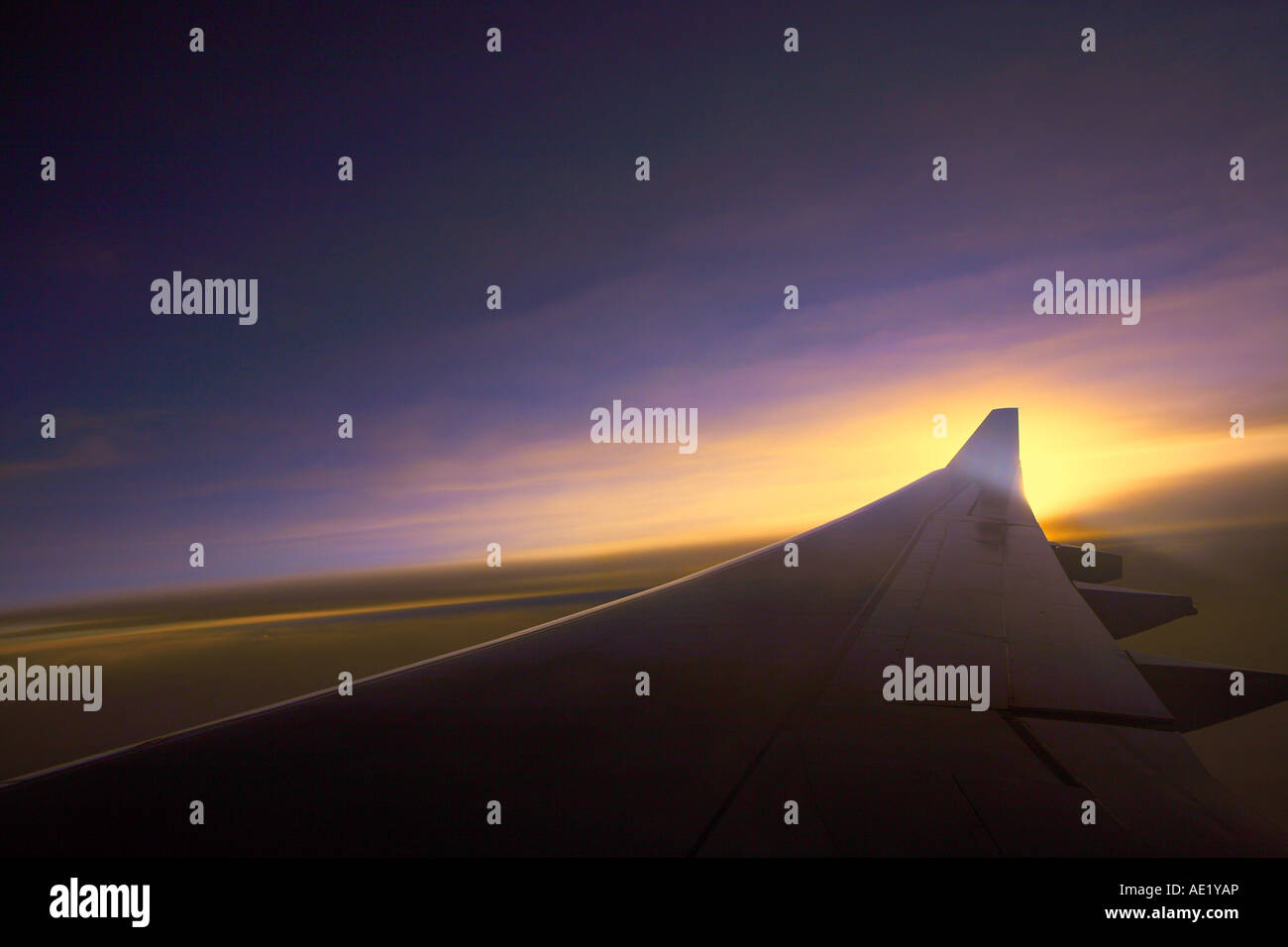 An aerial view from an airplane window near the wing. Stock Photo