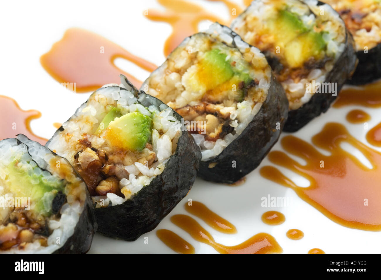 A Japanese sushi dish on a dish and adorned with sweet sauce. Stock Photo