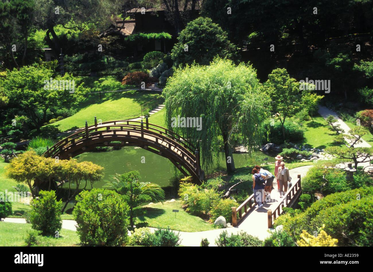 California San Marino The Huntington Japanese Garden Moon Bridge Over Koi  Pond