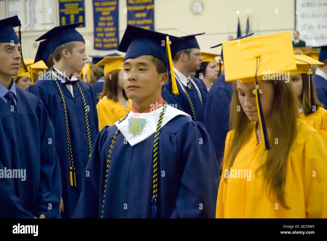 Cap and gown Commencement high school graduation ceremonies at Port ...