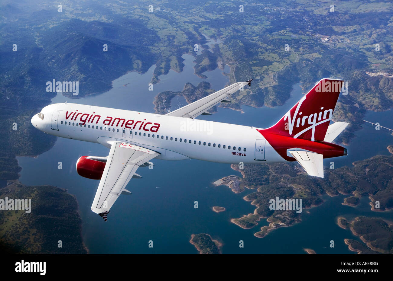 aerial air to air Virgin America air lines Airbus A320 over northern California - Stock Image