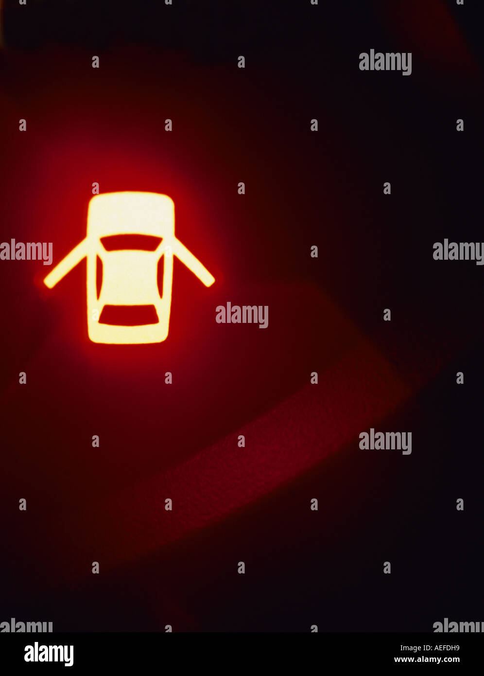 Warning Lights On Vehicle Dashboard Console Showing Vehicle Doors Open
