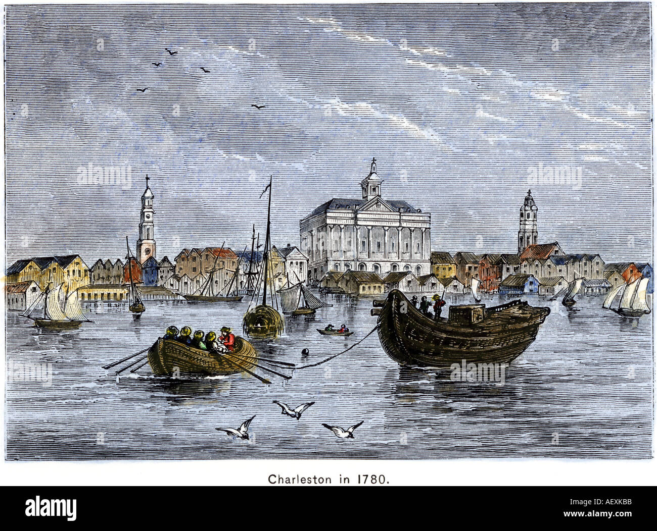 Harbor of Charleston South Carolina Colony in 1780 during the American Revolution - Stock Image