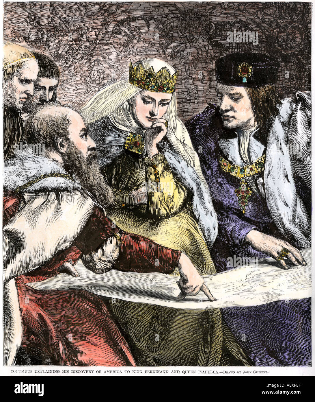 Columbus showing a map to King Ferdinand and Queen Isabella of Spain - Stock Image