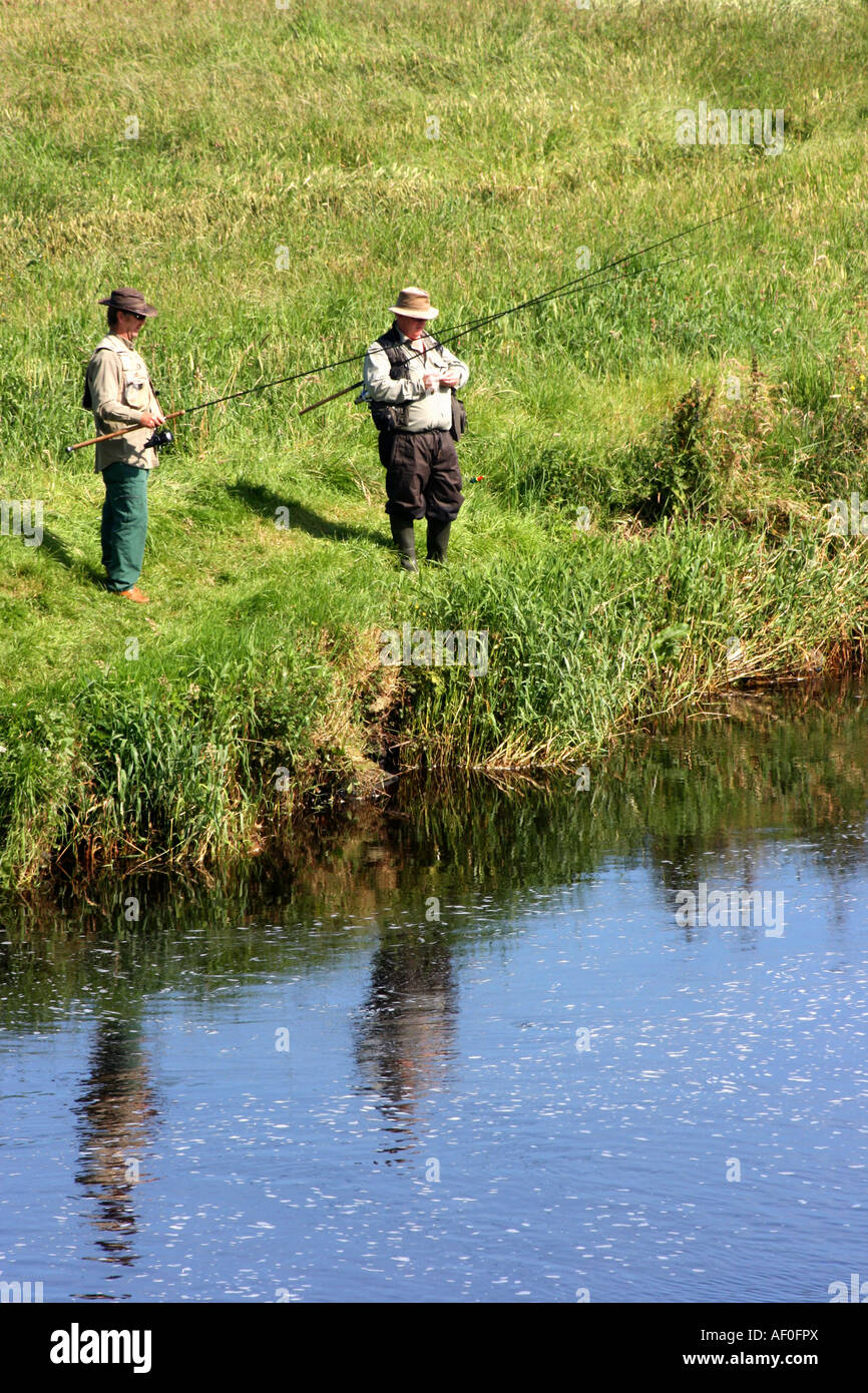 Angling in the River Bush in Bushmills, County Antrim, Northern Ireland - Stock Image