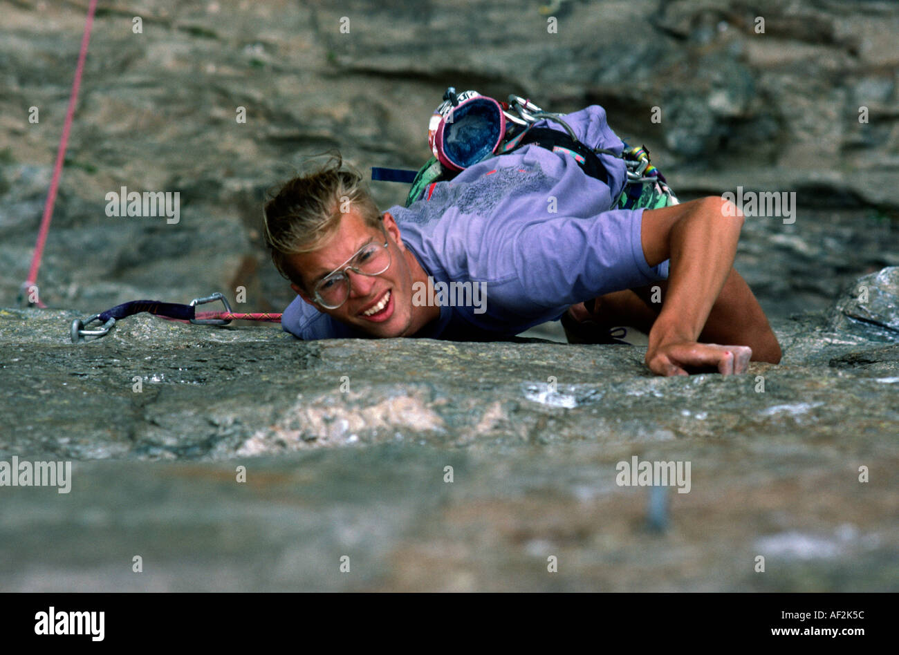 PICTURE CREDIT DOUG BLANE Rock climbing in Chamonix France - Stock Image