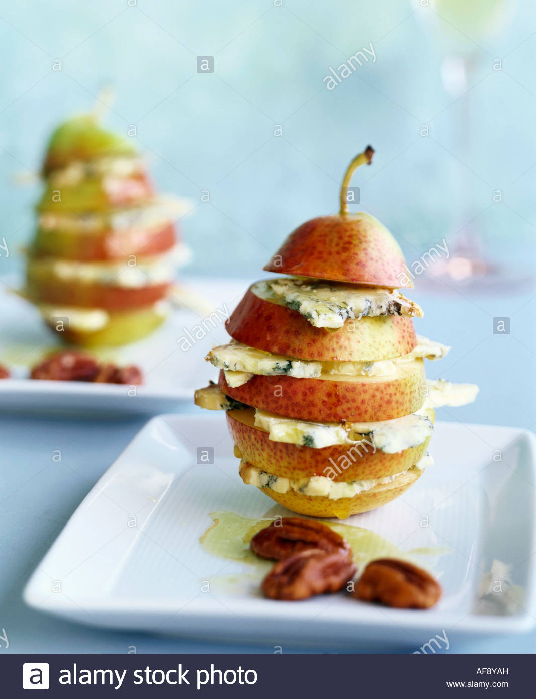 Pear with blue cheese and nut oil Stock Photo