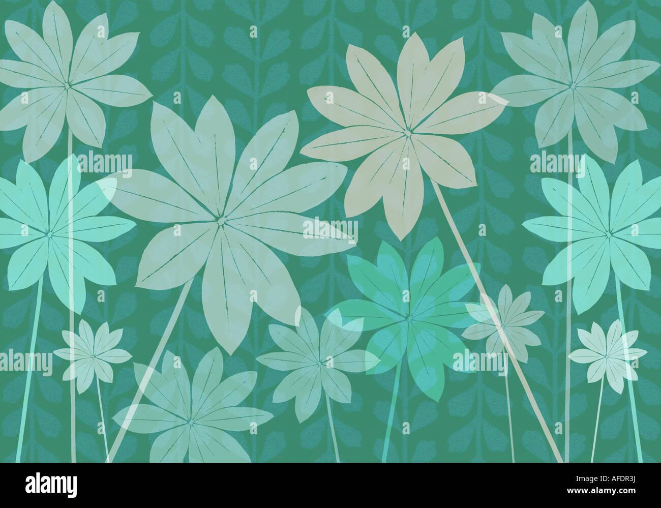 Illustration of lupin foliage Stock Photo